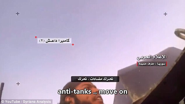Having watched their comrades being gunned down by soldiers from Hezbollah and the Syrian Army, the ISIS fighter tried escape in a makeshift tank, before being blown up by oncoming missiles