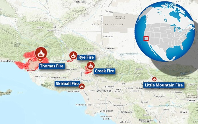 The Thomas Fire, Creek Fire and Rye Fire were joined on Tuesday by the San Bernardino Fire. On Wednesday  the Skirball Fire was reported and later hit Bel Air. This map shows the scale of each of the fires, with the Thomas Fire far outstripping the rest