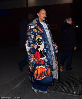 Kicks:The Barbados beauty also had on a white Celine T-shirt and belted jeans that had wide legs. And the Ocean's Eight actress added pointy metallic shoes for a pop of glam