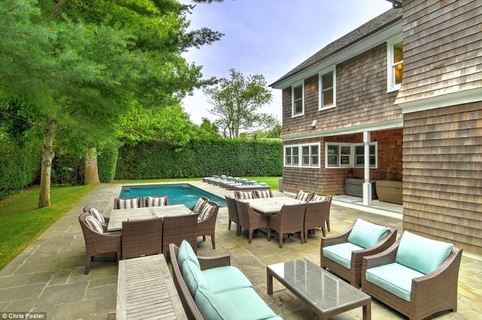 A place to relax: The beautiful outside pool is surrounded by a bluestone patio with plenty of room for entertaining