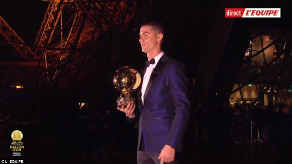 Ronaldo was unveiled as the winner of the Ballon d'Or award as the superstar stood on a podium attached to the Eiffel Tower