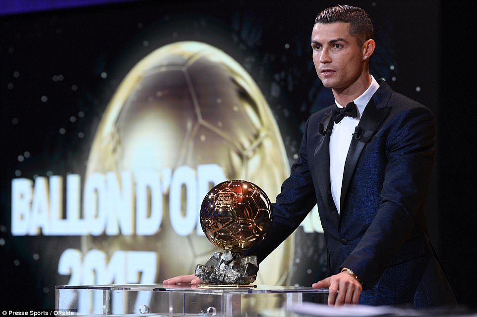 'Of course, I feel happy. It's a big moment in my career,' Ronaldo said upon being presented with the award for the fifth time