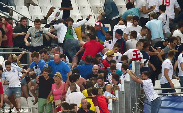 Russia and England supporters clashed inside the Stade Velodrome in Marseille following their Euro 2016 match