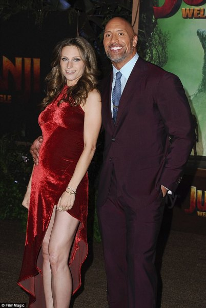 lauren hashian Dwayne Johnson and Lauren Hashian attend Jumanji premiere