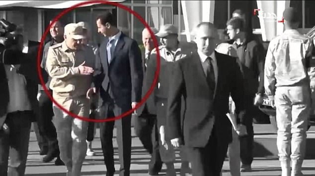 The clip shows the Syrian strongman being humbled on his own turf - when a Kremlin serviceman ordered him to wait while Putin walked off in front of him