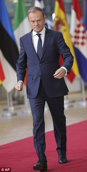 Mrs May will head to Brussels for a key summit later hosted by EU council president Donald Tusk (pictured)