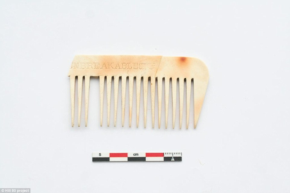 This image shows a comb that was found in the test dig. The lead archaeologist said of the project: 'We're expecting to find a well and deep German fighting trenches with communication trenches, all connected to the preserved foundations of the farm buildings.'