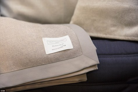 Quality: Passengers are presented with  a super-comfy, woven day blanket with satin trim and a luxurious duck-feather duvet