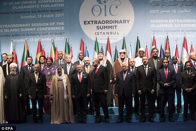 Erdogan and the the leaders of 57 other Muslim countries came together to form a united front against US President Donald Trump's recognition of Jerusalem as Israel's capital - not Tel-Aviv