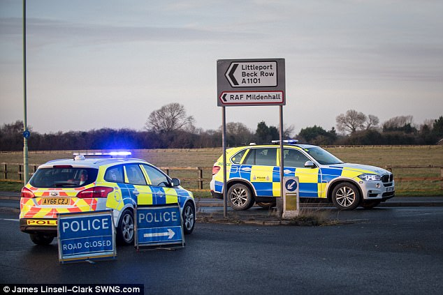 Police rushed to the RAF Mildenhall base (pictured today) in Suffolk to respond to the  alert