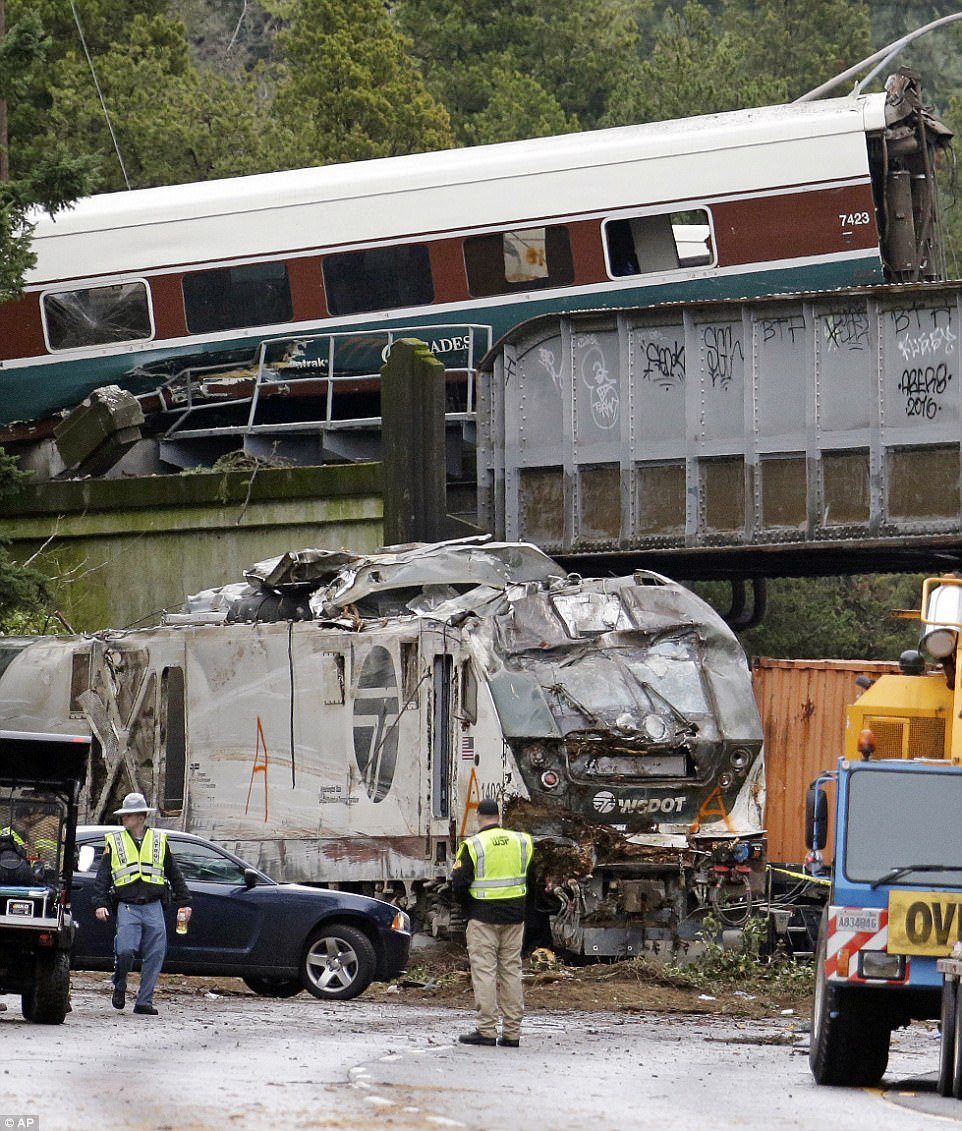 Thirteen of the 14 cars on the train derailed in the early Monday morning incident