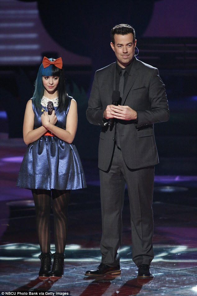 Martinez rose to prominence during The Voice in 2012 (pictured with Carson Daly), soon after she became close with Heller