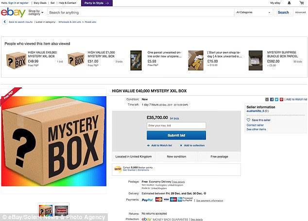 Someone has bid over 35000 on eBay for this mystery box