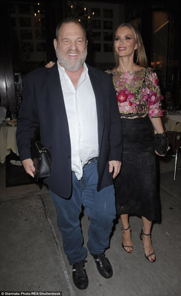 Georgina Chapman could pocket nearly $12million if she files for divorce from Harvey Weinstein. The estranged wife is pictured with the disgraced movie mogul at a friend's engagement party in September