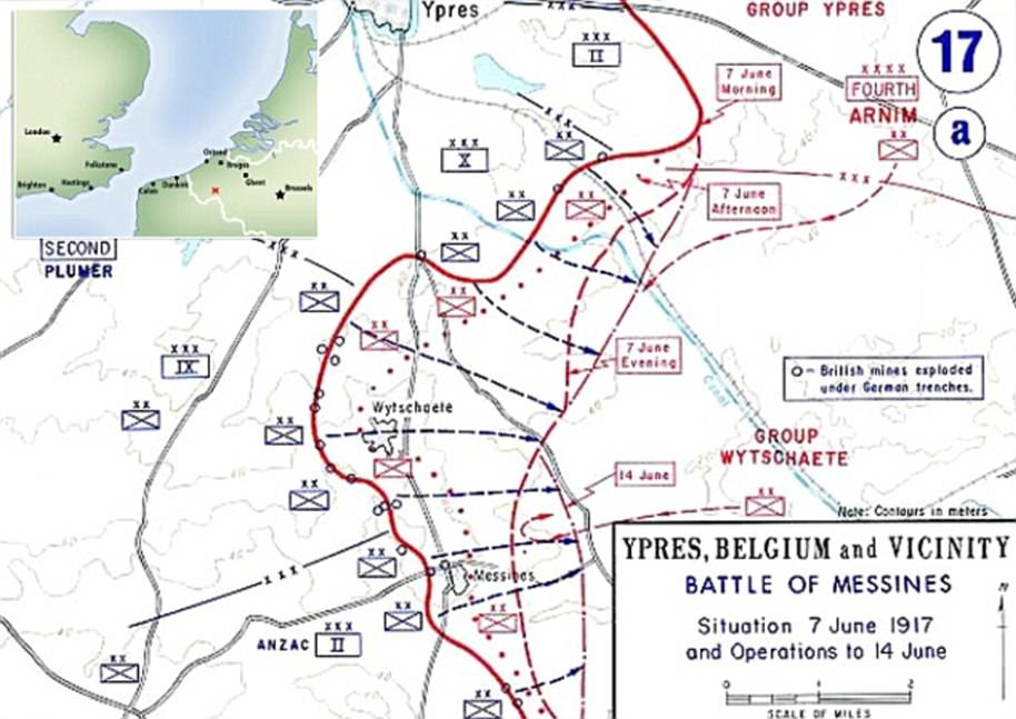 The Battle of Messines took place on the Western Front in June 1917 in Belgium, around the village of Mesen