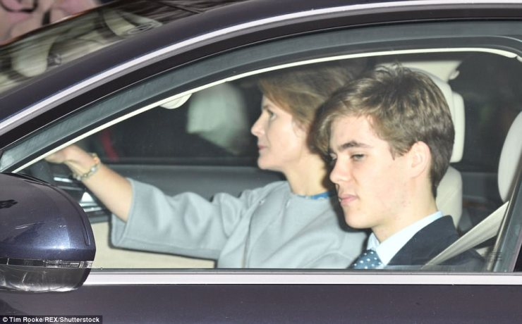 Viscountess Serena Linley was behind the wheel driving her teenage son Charles Armstrong-Jones to the festive lunch