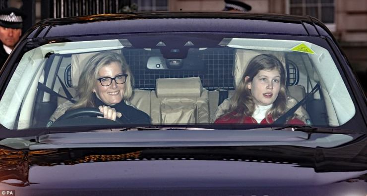Sophie, the Countess of Wessex cut an unusually informal figure as she drove her daughter Lady Louise Windsor to the palace