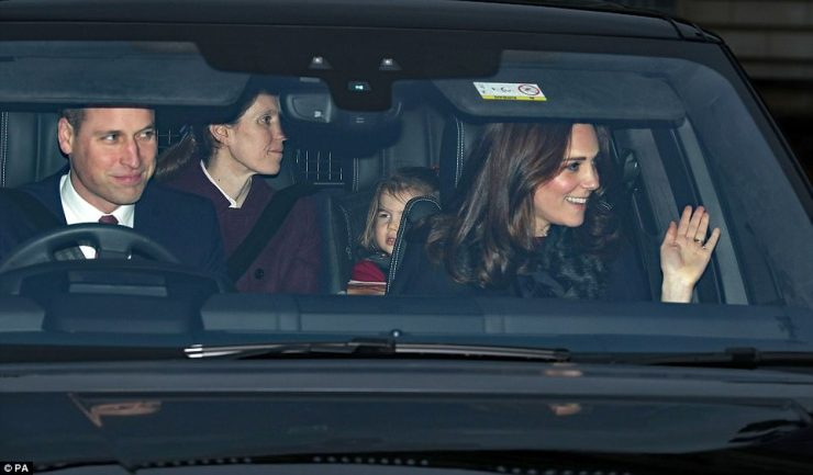 Prince William also appeared to be in a festive mood, smiling to the crowds as he made his way back to Kensington Palace