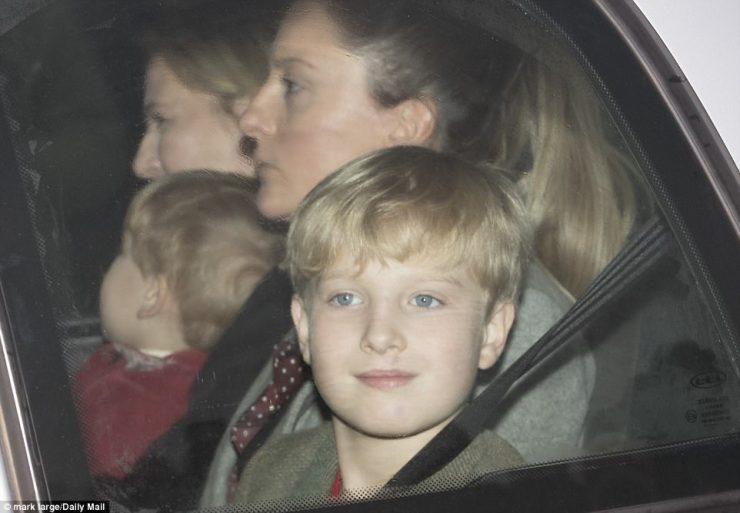 Albert Windsor, 10,the eighth grandchild of the Duke and Duchess of Kent arriving with his family