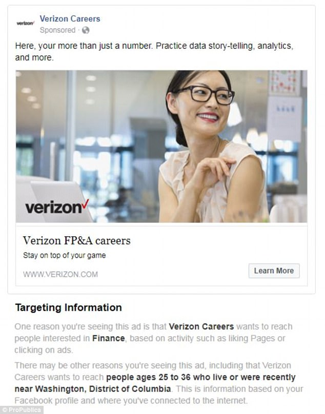 Facebook has been accused of age discrimination after they allowed employers like Amazon and Verizon to exclude millions of older Americans from seeing their job ads. Pictured is the Verizon ad