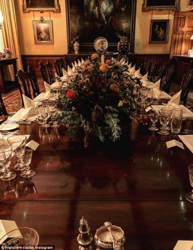 Festive feast: The table in the dining room  is set for the most elegant Christmas meal