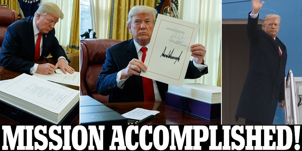Trump signs tax cuts and bill to keep the government open