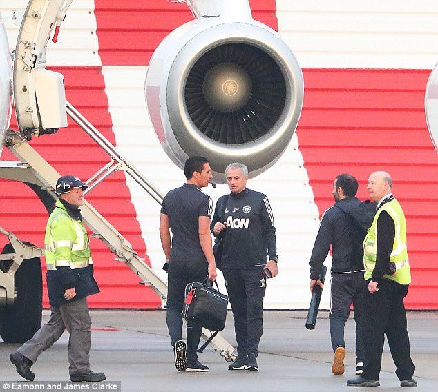 Jose Mourinho and Co made the 15-minute trip 28 hours before their match with Leicester