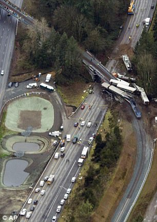 However, it was left because of the high cost and speed limit was set at 30mph (Pictured, the train on the curve after the crash)