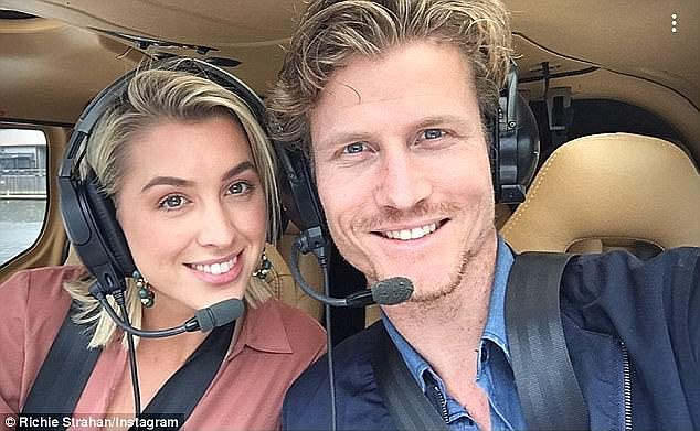 Former flame: Prior to her relationship with Maegan, Alex enjoyed a short-lived romance with Richie Strahan, 31, who presented her with a diamond promise ring during The Bachelor's grand finale episode last year