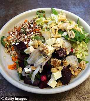 For roasted vegetables or nuts you've got hanging around, it's a great idea to incorporate them into salads (pictured)