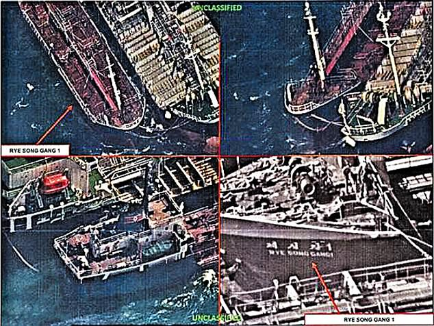 US satellites have spotted Chinese tankers transferring oil to North Korean ships 30 times in three months - despite strict UN trade embargoes, it has been claimed. One picture (above), reportedly taken on October 19, shows a ship called Ryesonggang 1 connected to a Chinese vessel in the West Sea off China
