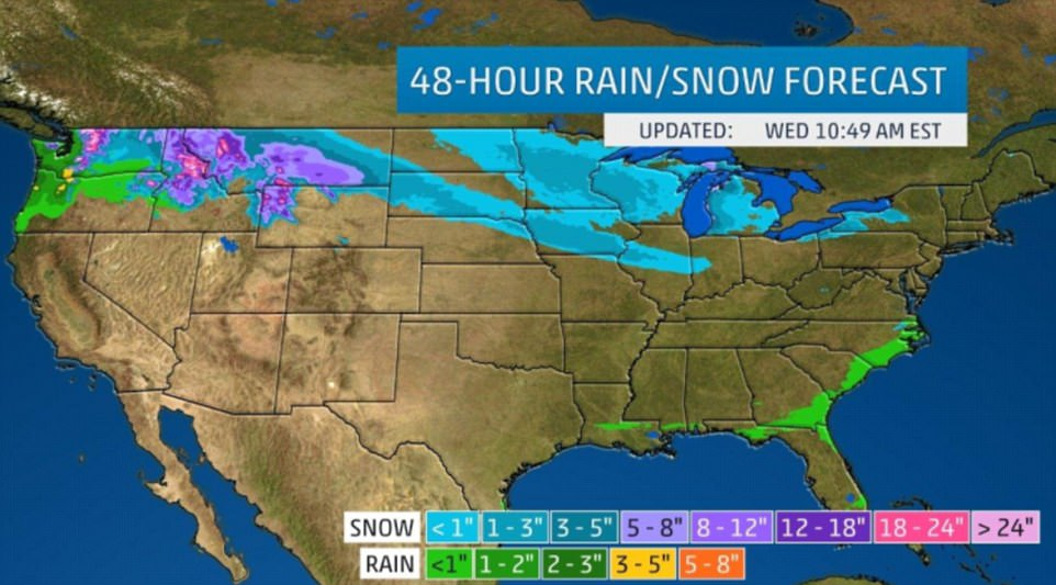 The above map shows the next 48 hours of precipitation, rain and snow across the U.S. measured in inches