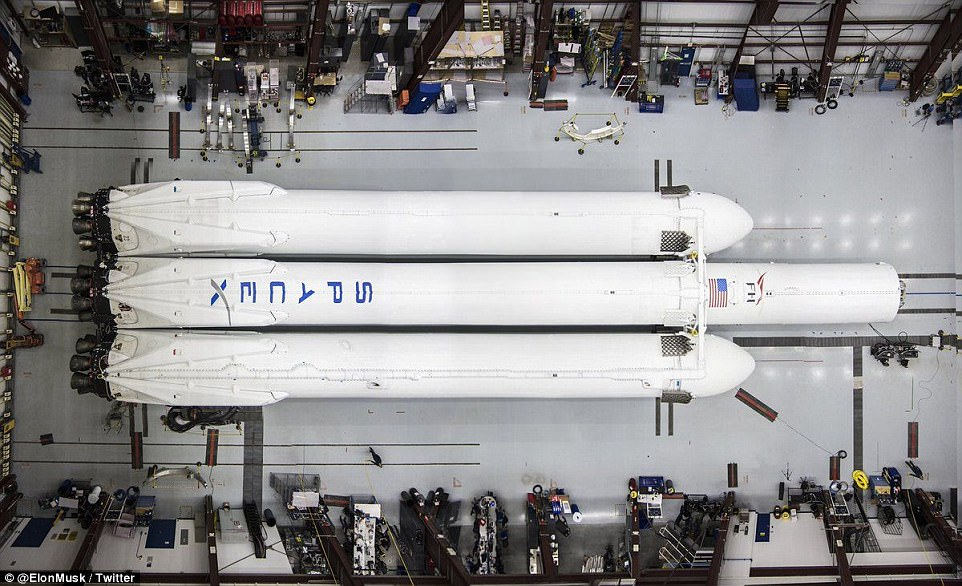 The vast rocket, which is ultimately three Falcon 9 rockets linked together, will have the combined thrust to eventually launch 140,000 pounds (63,500kg) of cargo into orbit