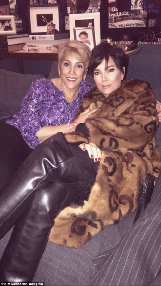 Dynamic duo: Another iconic moment was captured when Kris, Kim's mom, posed with JLo's mother Guadalupe Rodríguez posed for a snap while chatting on a couch together