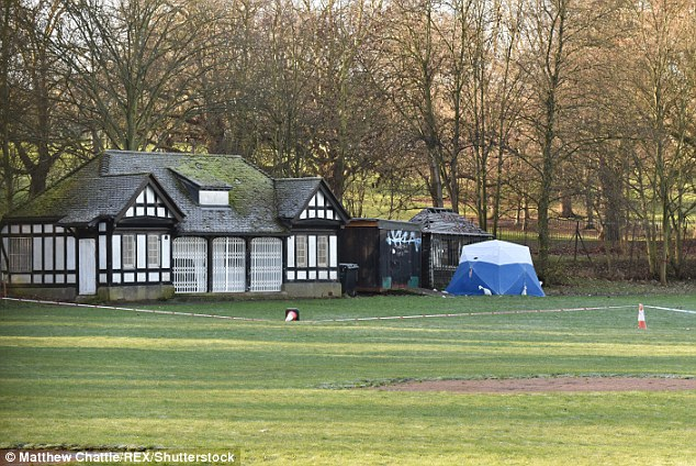 The tent stands next to the pavillion in Finsbury Park in an area used for cricket and baseball