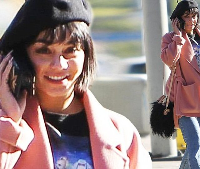 Feeling Hot Hot Hot Vanessa Hudgens Wraps Up For Winter In A Pink Coat Cute Beret And Furry Shoes As She Runs Errands In Balmy La