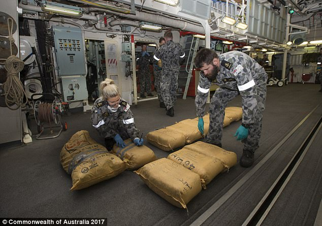 The illegal drugs will be disposed at sea at a later date