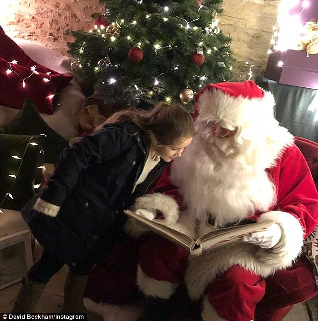 Beck the Halls!David Beckham proudly shared his family's festive celebrations with fans on Monday - as he took daughter Harper (above) and her three brothers to meet Santa Claus