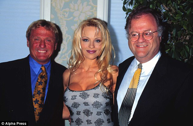 Langer (right) has practiced law for 51 years and represented notable people such as Pamela Anderson (shown at a press conference in 1997 in Beverly Hills, California)