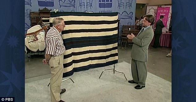 The Antiques Roadshow episode Krytzer fortunately caught showed Ted Kuntz (left) who was also in tears when Don Ellis, dealer of Native American artifacts (right) reveals that his blanket is worth over $500,000