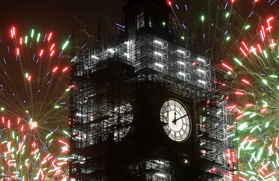 Big Ben's bongs rang out for only the second time since August to usher in 2018 before falling silent again on New Year's Day