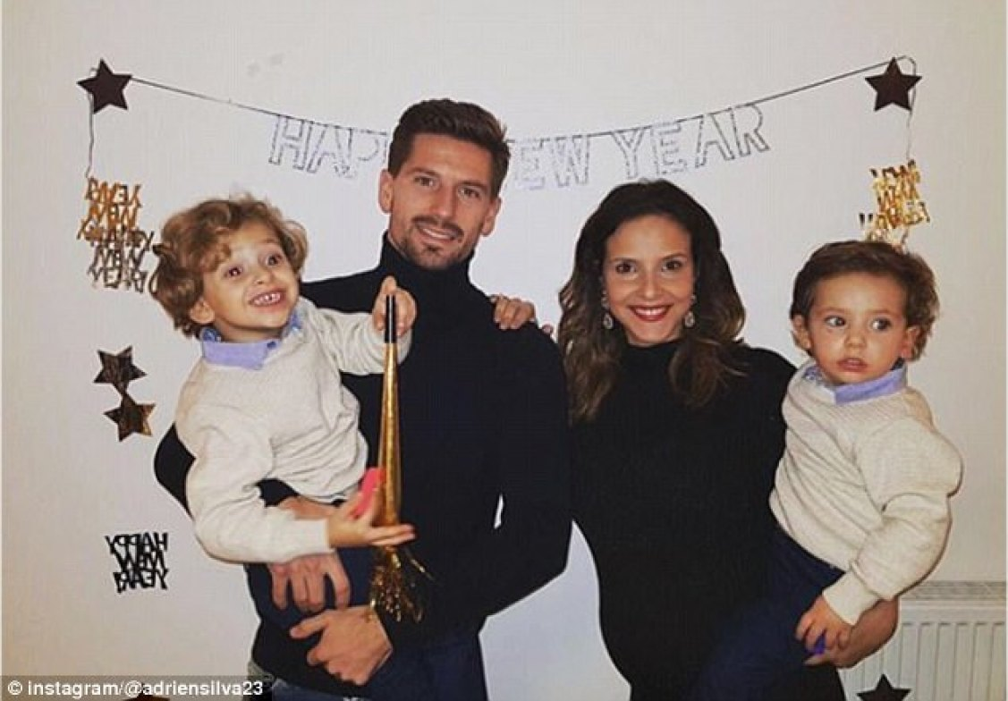 One player glad to say goodbye to 2017 is Leicester midfielder Adrien Silva, here with family