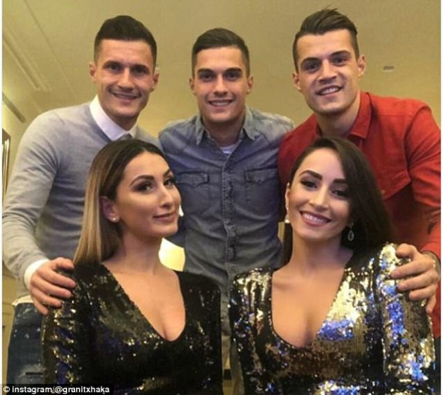 The Xhaka brothers, Taulant (centre), Arsenal star Granit (right), and his wife Leonita Lekaj