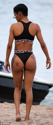 Derriere:As she turned towards the ocean, Teyana's pert derriere took a bow as her Rolling Stones tattoo was exposed