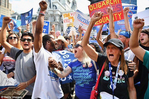 Bernie Sanders supporters gather near City Hall on day three of the Democratic National Convention (DNC) on July 27, 2016 in Philadelphia, Pennsylvania