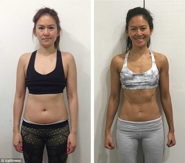 Sarah Wong, 38, slimmed from a size 10-12 to a toned size 8 by cutting out snacks, changing her diet and committing to regular workout sessions in the 16 weeks before her wedding