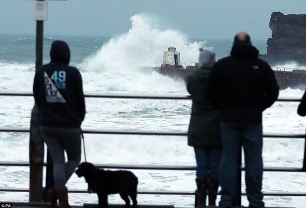 The UK was once lashed by excessive winds and torrential rain as Storm Eleanor battered the nation. A dog walker watched on as waves crashed in opposition to rocks in Portreath, Cornwall