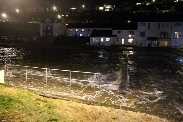 Flood water overwhelmed Portreath, Cornwall after Storm Eleanor introduced on chaos across the UK