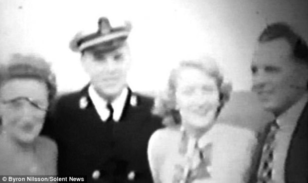 Byron Nilsson (appropriate) visited Portsmouth, Hampshire, in June 1949 as share of a practicing tour with US navy battleship USS Missouri and turned company with RAF pilot Ted Cooper (also pictured, alongside with his wife and wife's sister)