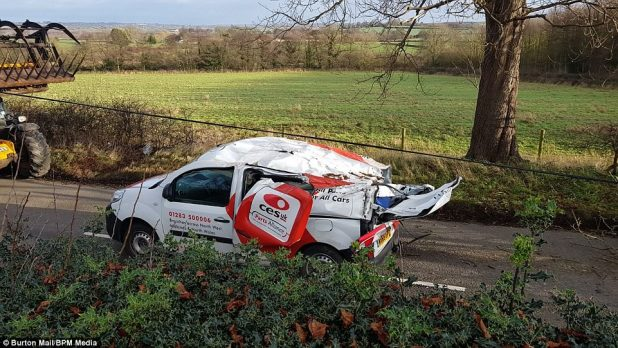 A man was once hospitalised after a tree fell on his van (pictured) in Rosliston village in south Derbyshire